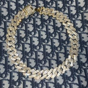 "18"" 19mm Gold Cuban link diamond chain"